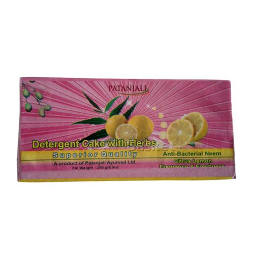 Patanjali Detergent Cake - Superior Quality Citrus Lemon 250 gm, 250 g
