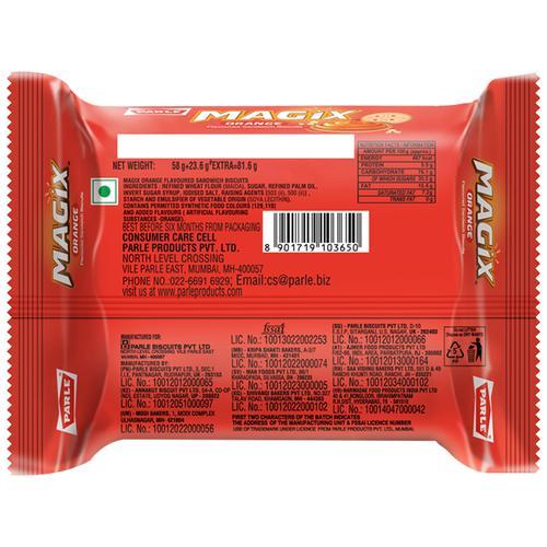 Parle Biscuits - Magix Kream Orange, 81.6 g Pouch