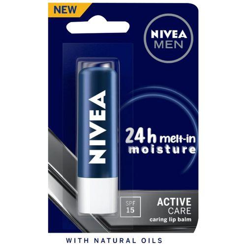 Nivea Men Lip Care - Active Care Lip Balm, SPF 15, 4.8 g