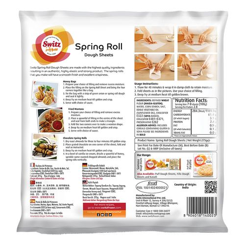 "Switz Spring Rolls Sheets - 8""x 8"", 20 pcs Pouch"