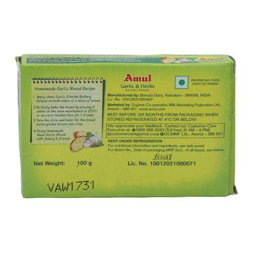Amul Buttery Spread - Garlic & Herbs, 100 g Carton