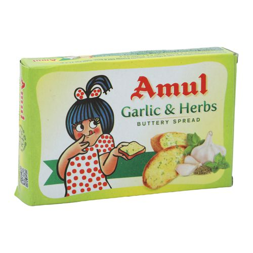 Amul Buttery Spread - Garlic & Herbs, 100 g Carton