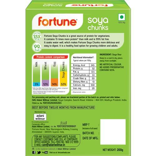Fortune  Soya Chunks, 200 g Carton