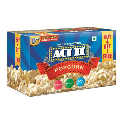 ACT II Microwave Popcorn Variety Pack, 5 x 99 g (Buy 4 Get 1 Free)