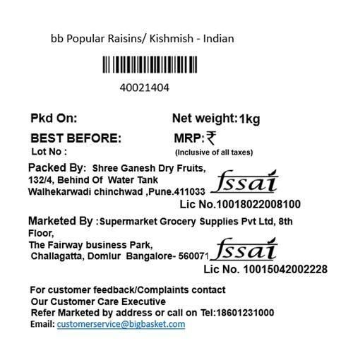 bb Popular Raisins/Kishmish - Indian, 1 kg Pouch