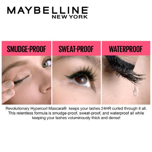 Maybelline New York Hypercurl Mascara - Waterproof, 9.2 g Black