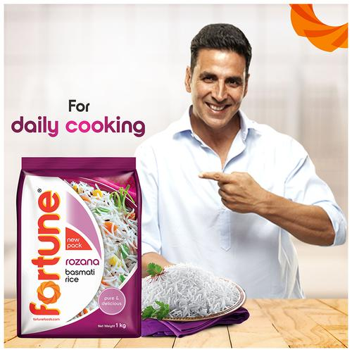 Fortune  Basmati Rice/Basmati Akki - Rozana, 1 kg Pouch