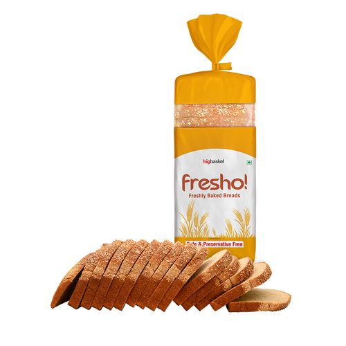 Fresho Whole Wheat Bread - Safe, Preservative Free, 400 g