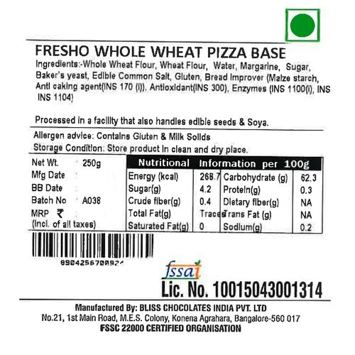 Fresho Pizza Base - Whole Wheat, Safe, Preservative Free, 250 g (Pack of 3)