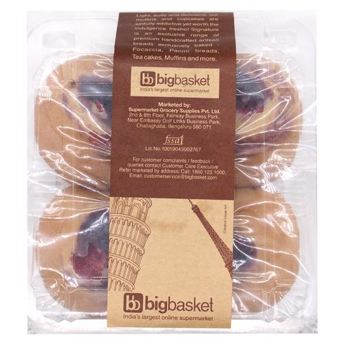 Fresho Signature Muffin/Cup Cake - Blueberry, 200 g (Pack of 4)