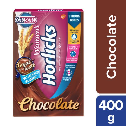 Horlicks Women's Horlicks Health & Nutrition Drink - Chocolate Flavour, No Added Sugar, 400 g Carton