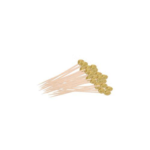 Ezee  Fancy Golden - Round Beads Wooden Toothpick, 85 pcs