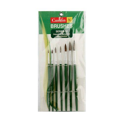 Camlin Painting Brush - Round, Green, 7 pcs
