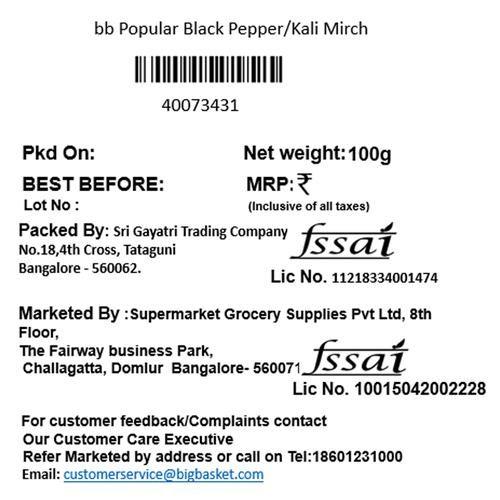 bb Popular Black Pepper/Kali Mirch, 100 g