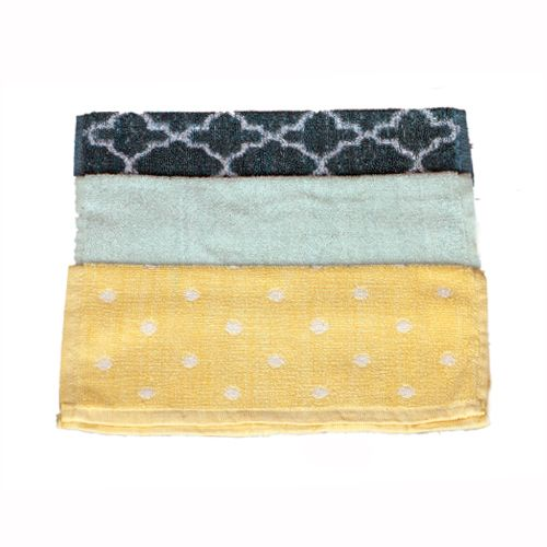 Adithya Premium Kitchen Towel - Grey, Green & Yellow, Po3, 3 pcs