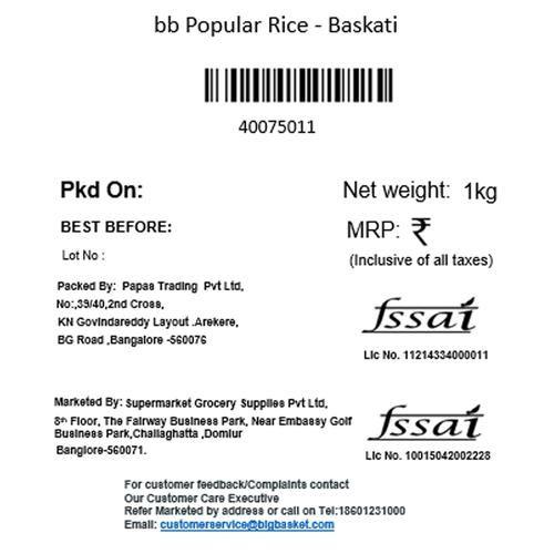 BB Popular Rice - Baskati, 1 kg