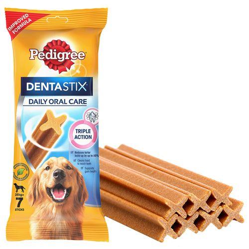 Pedigree DentastixDog Treat Oral Care For Adult Large Breed (25 kg+), 7 Sticks, 270 g (Weekly Pack)