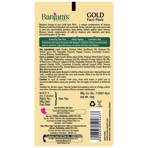 Banjara's Gold Face Pack, 50 g Tube