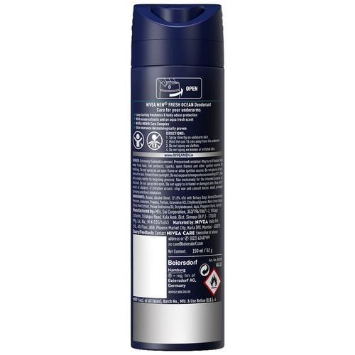 Nivea Men Fresh Ocean Deodorant - 48h Long lasting Freshness With Fresh Aqua Scent, 150 ml