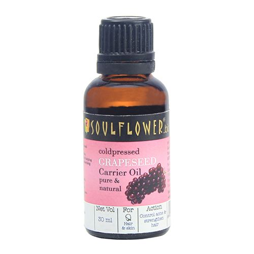 Soulflower Cold Pressed Grapeseed Oil for Deep Moisturisation, Acne & Frizz Control, 30 ml