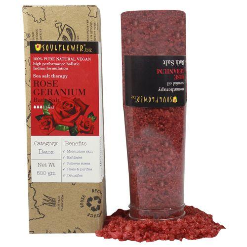 Soulflower Rose Geranium Aroma Bath Salt for Moisturised - Soft Skin, Controls Acne, 500 g