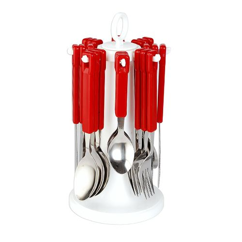 Elegante Tablecraft Cutlery Set with Stand - Red, 25 pcs