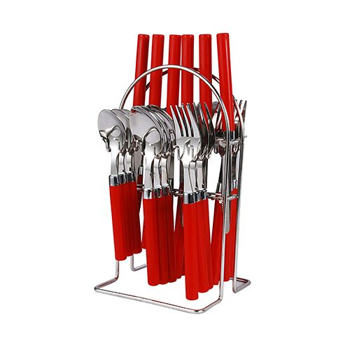 Elegante Opera Cutlery Set with Stand - Red, 25 pcs