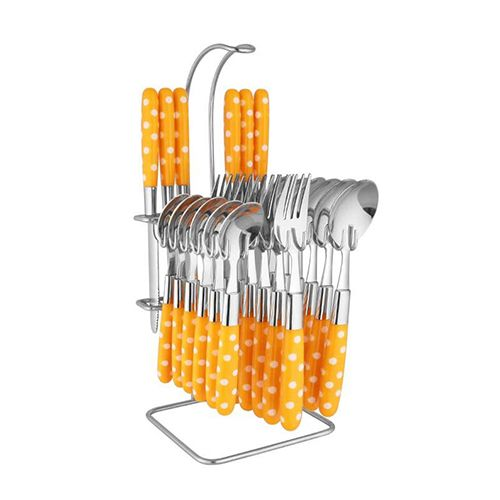 Elegante Nova Cutlery Set with Stand - Light Yellow, 25 pcs