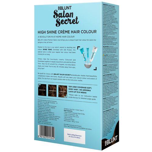 Bblunt Salon Secret High Shine Creme Hair Colour - Chocolate, Dark Brown 3,  100 gm + 8 ml