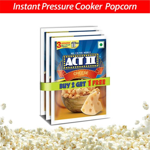 ACT II Instant Popcorn Value Pack - Cheese, 3 x 70 g (Buy 2 Get 1 Free)