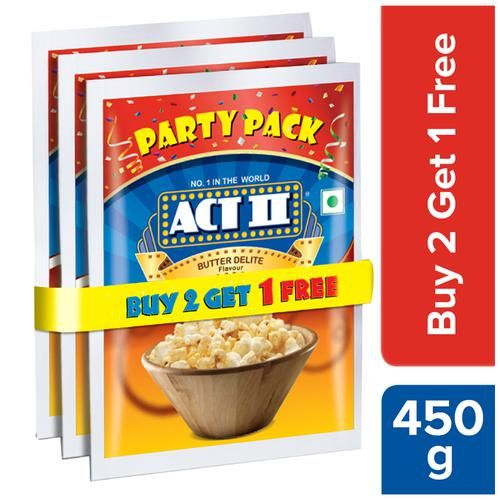 ACT II Instant Popcorn Value Pack - Butter Delite, 3 x 150 g (Buy 2 Get 1 Free)