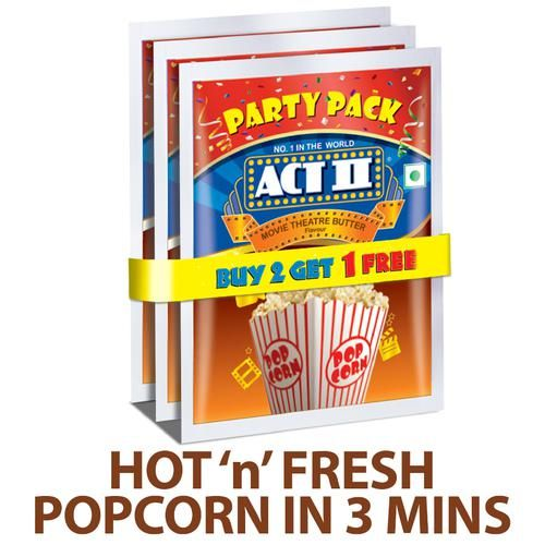 ACT II Instant Popcorn Value Pack - Movie Theatre Butter, 3 x 150 g (Buy 2 Get 1 Free)