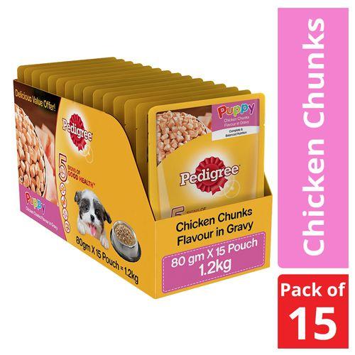Buy Pedigree Puppy Dog Treat Food Gravy Chicken 80 Gm Online At Best