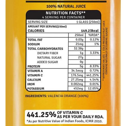 Raw Pressery 100% Natural Cold Pressed Juice -  Valencia Orange, 1 L