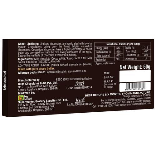 Lindberg Almonds Chocolate Bar - Pure Belgian, 50 g