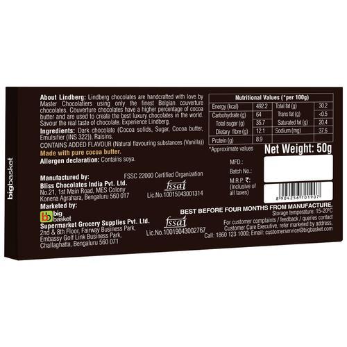 Lindberg Raisins Dark Chocolate Bar - Pure Belgian, 50 g