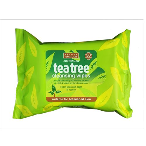 Beauty Formulas Tea Tree Cleansing Wipes, 30 Pulls