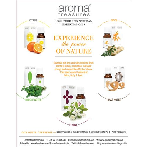 Aroma Treasures Peppermint Essential Oil - 100% Pure & Natural, 50 ml