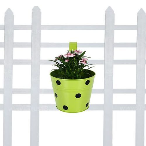 Trust Basket Single Pot Railing Planter - Green with Dots, 1 pc