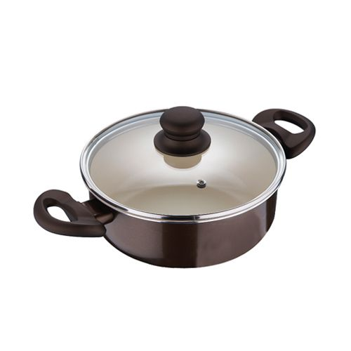 Bergner Bellini Cook N Serve Pot with Glass Lid, Brown, 1 pc 24X8.5 cm