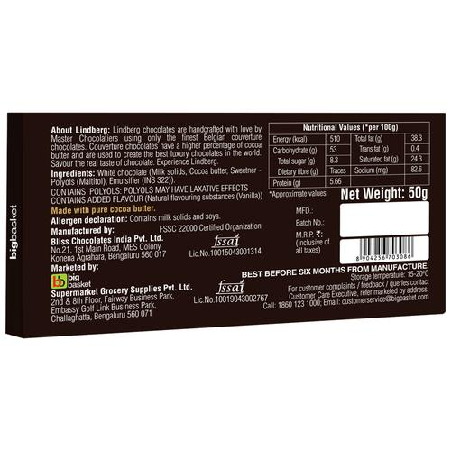 Lindberg No Added Sugar - Pure Belgian White Chocolate, 50 g