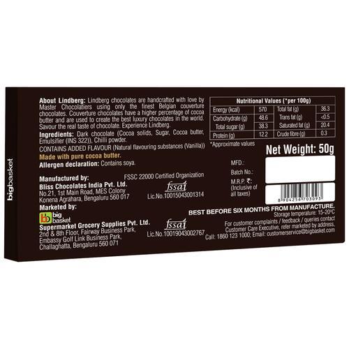 Lindberg Chilli - Pure Belgian Dark Chocolate, 50 g
