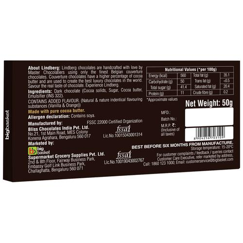 Lindberg Orange - Pure Belgian Dark Chocolate, 50 g