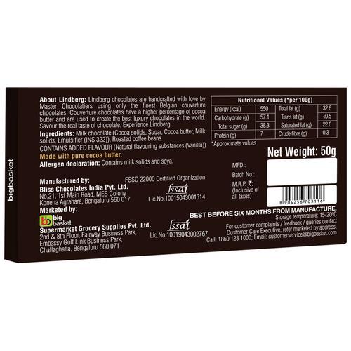 Lindberg Coffee - Pure Belgian Milk Chocolate, 50 g