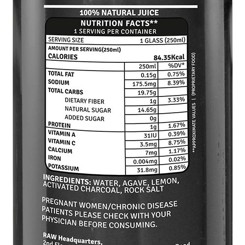 Raw Pressery Charcoal Lemonade - 100% Natural, Cold Pressed Juice, 250 ml