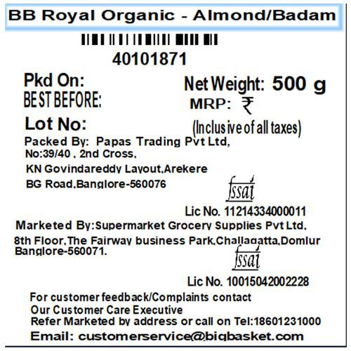 bb Royal Organic - Almond/Badam, 500 g