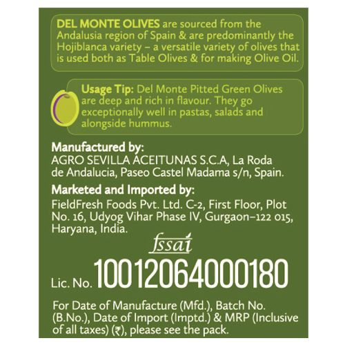 Del Monte Olives - Green Pitted, 235 g