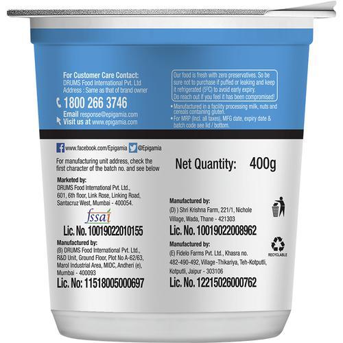 Epigamia  Greek Yogurt - Natural, Low Fat, 400 g Cup