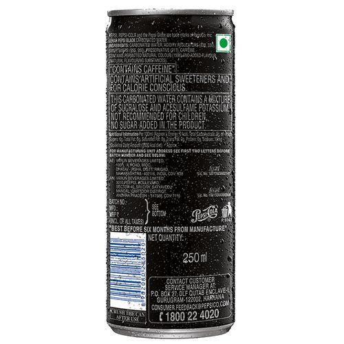 Pepsi Soft Drink - Black, Slim, 250 ml Can