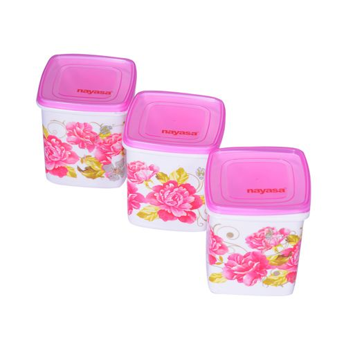 Buy Nayasa Square Containers Floral Pink 500 Ml Online At